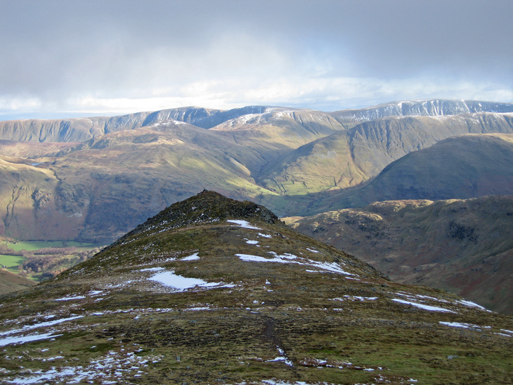 Looking back to Gavel Pike with the far eastern fells behind from our route to Saint Sunday Crag's summit