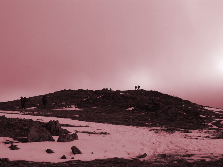 Looking back to Saint Sunday Crag's summit