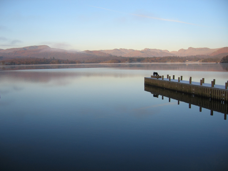 Wetherlam and the Langdale fells seen across Windermere from the Low Wood Hotel