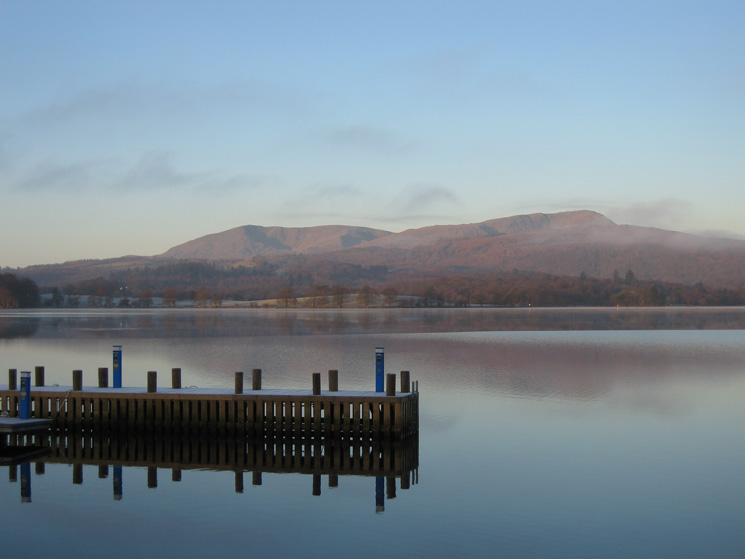 The Coniston fells across Windermere from the Low Wood Hotel