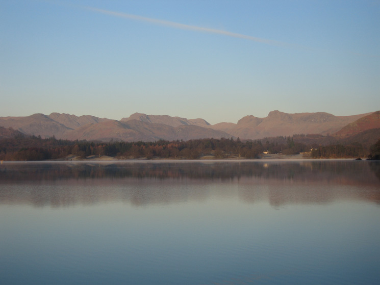 The Langdale fells across Windermere from the Low Wood Hotel
