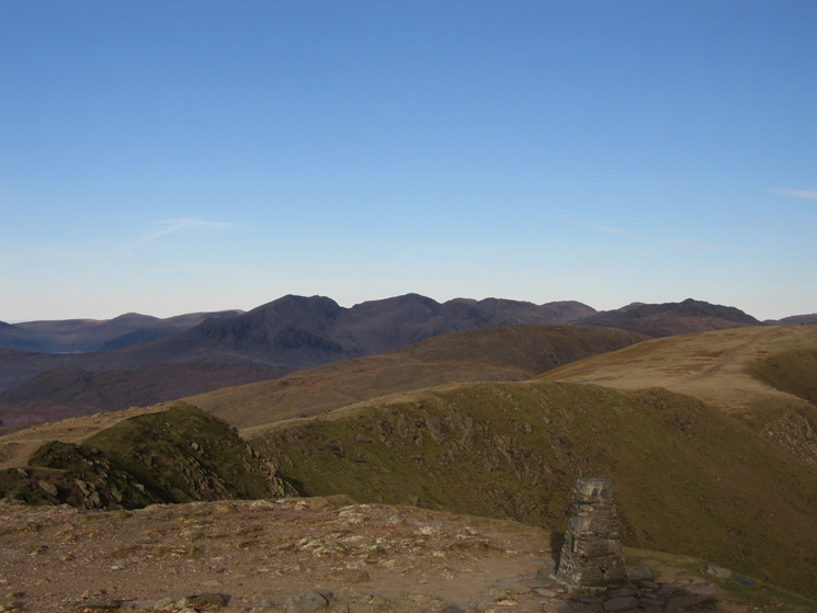 The view north towards the Scafells from Coniston Old Man's summit