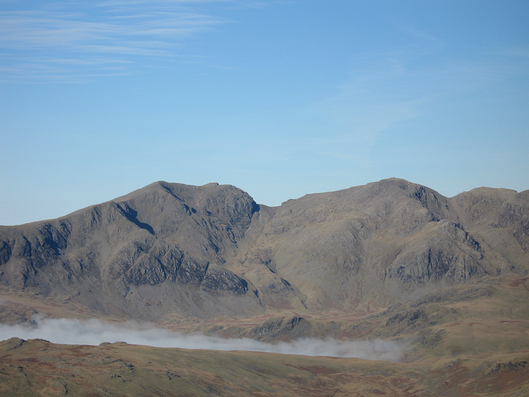 Zooming in on Scafell and Scafell Pike from Grey Friar's summit