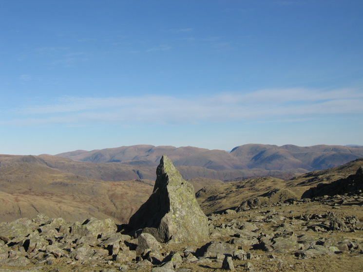 The Helvellyn and Fairfield fells from the 'Matterhorn Rock' on Grey Friar