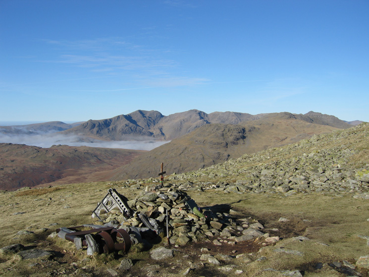 The Scafells from the Halifax Bomber crash memorial on Great Carrs