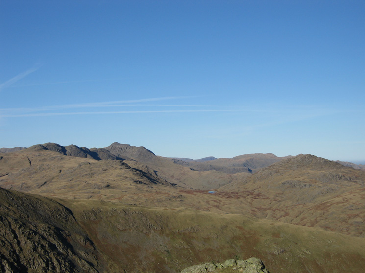 Crinkle Crags, Bowfell, Eel Crag, Glaramara and Pike O' Blisco from Wetherlam