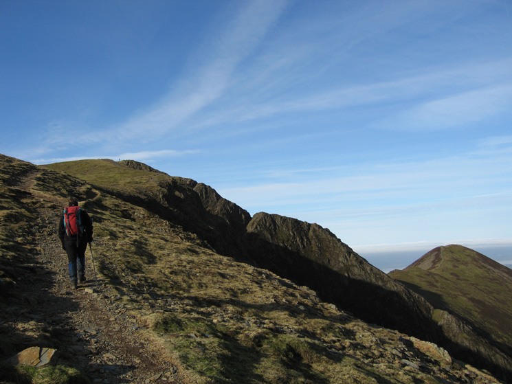 Heading for Hopegill Head's summit with Ladyside Pike on the right