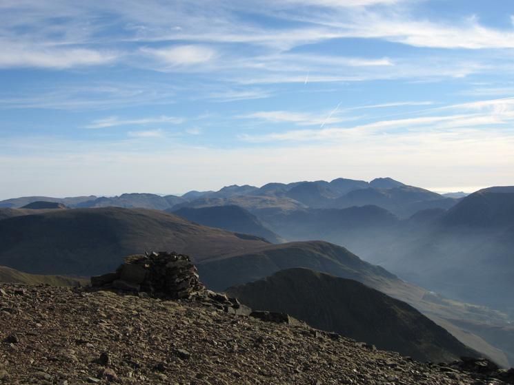 Looking towards the Scafells from Grasmoor's summit