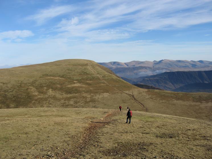 Eel Crag with the Helvellyn range in the distance from Grasmoor