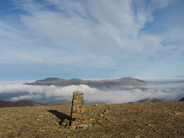 Skiddaw and Blencathra from Eel Crag (Crag Hill) summit