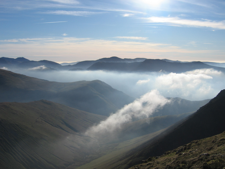 The valley of Sail Beck and the western fells from The Scar