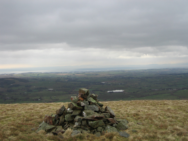Mockerkin Tarn, the Solway Firth and Scotland from Owsen Fell's summit