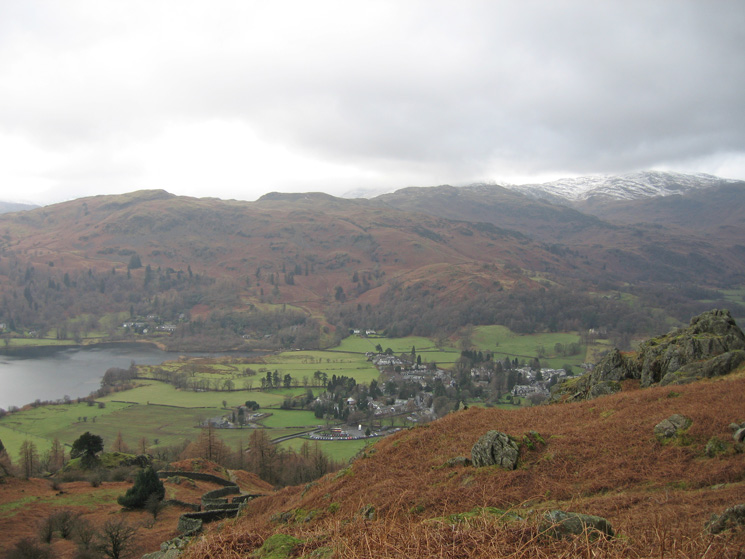 Grasmere, village and lake with Silver How, Blea Rigg and  High Raise behind