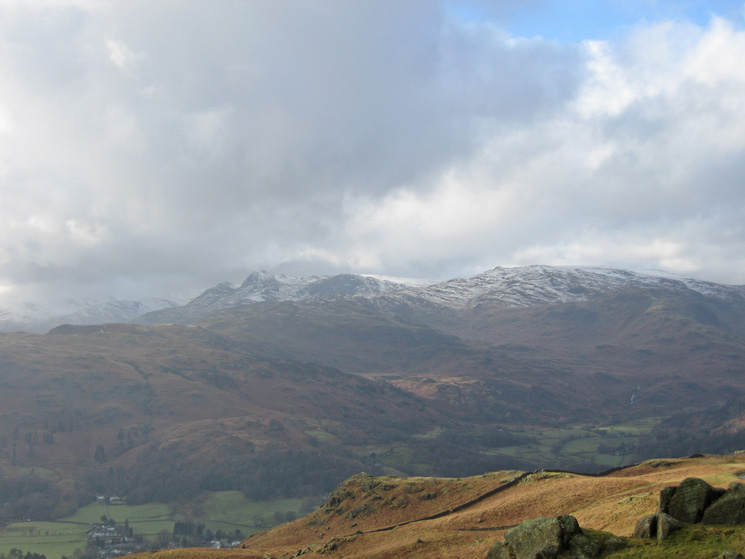 Snow on the Langdale Pikes and High Raise