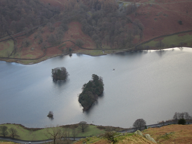 Looking straight down on Rydal Water from Nab Scar