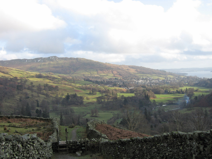 Wansfell Pike and Ambleside from above Rydal