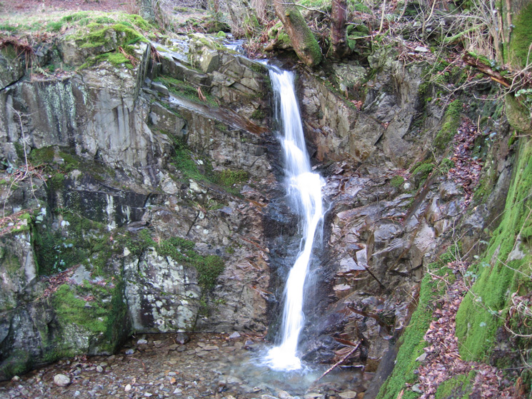 A small waterfall close to the A591 at White Moss Common