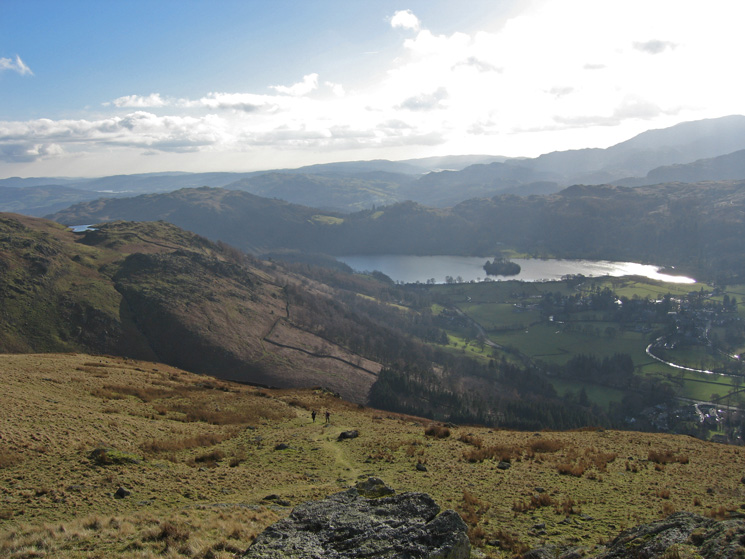 Looking back down on Grasmere from Stone Arthur with Alcock Tarn on the far left