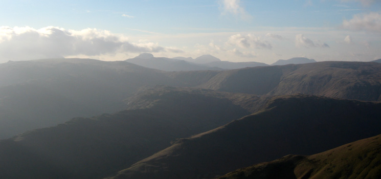 Looking west to Great Gable, Pillar and the High Stile ridge