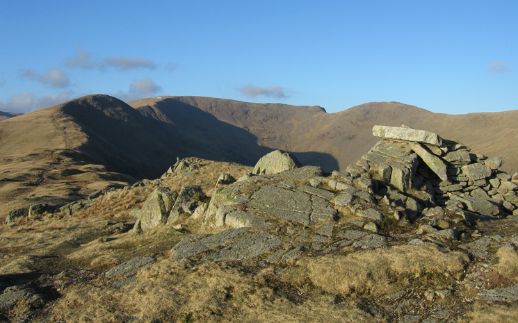 Great Rigg, Fairfield and Hart Crag from Erne Crag's summit