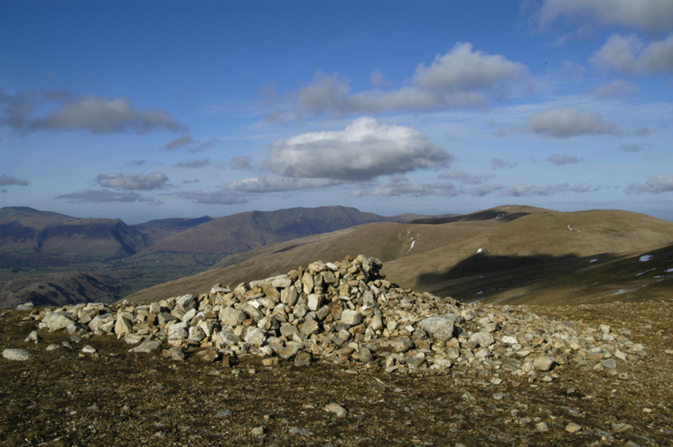 Blencathra and the Dodds to the north from White Side's summit cairn