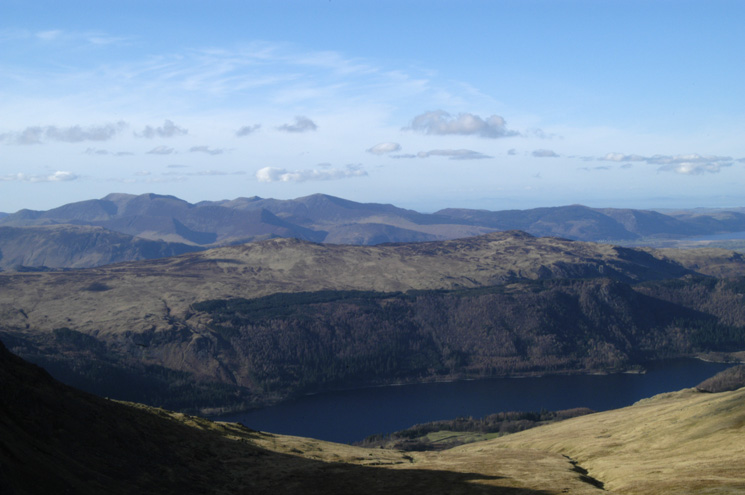 High Seat and Bleaberry Fell on the far side of Thirlmere with the north western fells beyond