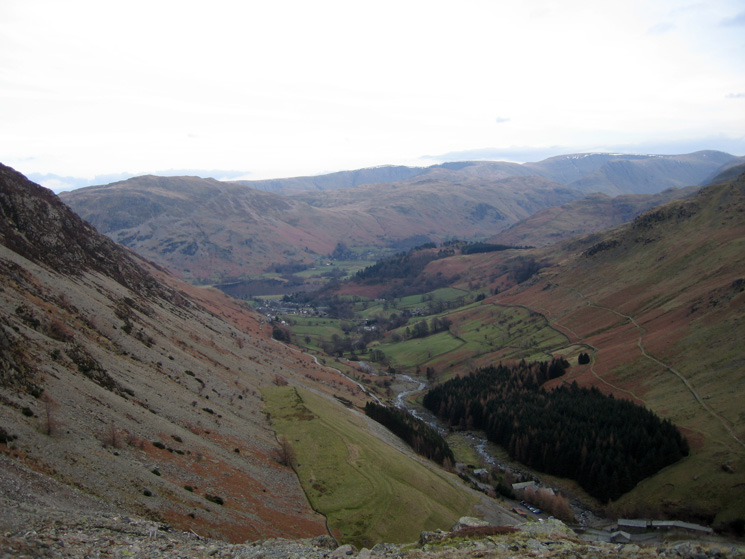 Looking down on Glenridding from Stang End