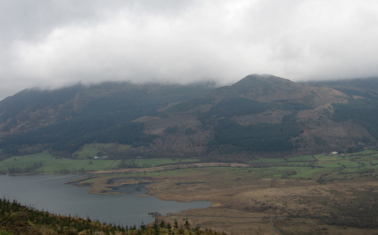 Dodd with its top just below the clouds and the head of Bassenthwaite Lake
