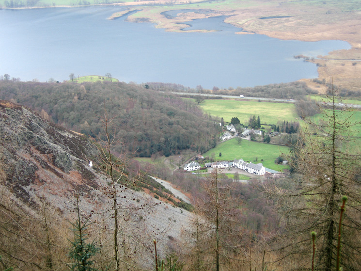 Looking down on the former Swan Hotel, Thornthwaite, the white rock on the fell side is The Bishop of Barf