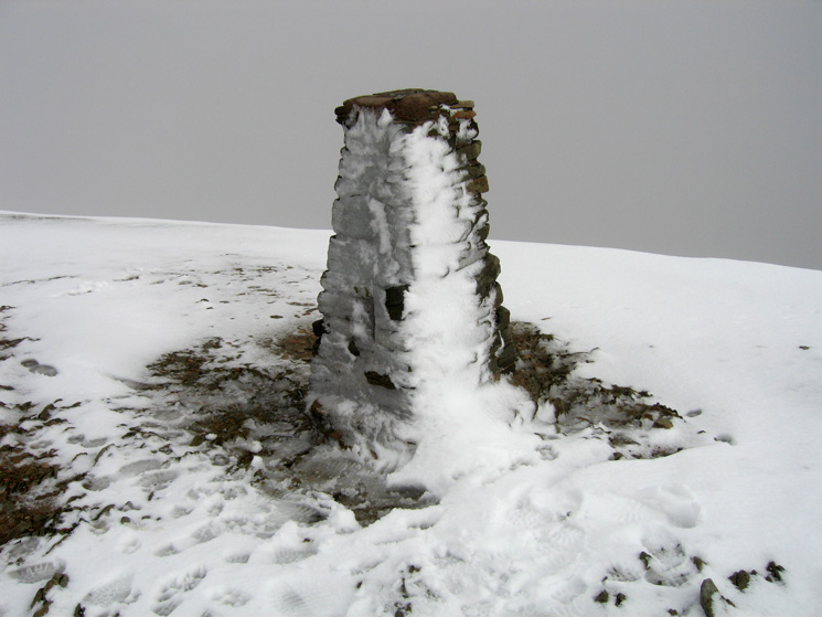Helvellyn's trig point, no view for us today