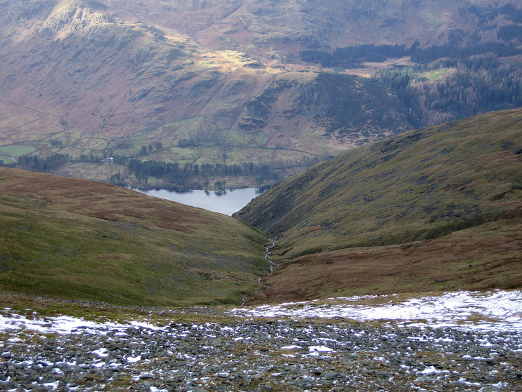 Looking back down on Whelpside Gill and Thirlmere