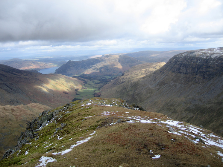 Looking down Grisedale to Place Fell with Saint Sunday Crag on the right from Dollywaggon Pike's summit