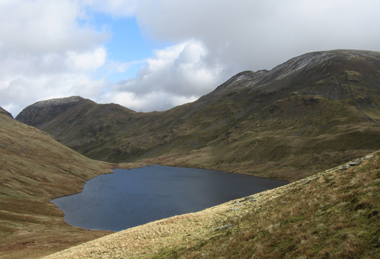 Looking across Grisedale Tarn to Saint Sunday Crag, Cofa Pike and Fairfield from our ascent of Seat Sandal