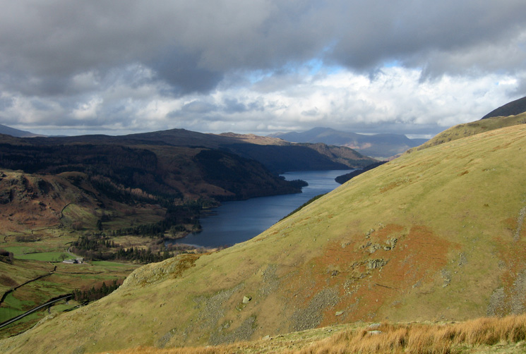 Thirlmere with Skiddaw in the far distance from our descent to Dunmail Raise from Seat Sandal