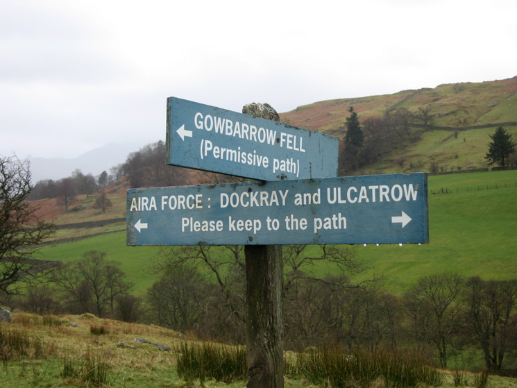 Sign post near Dockray and the start of the climb up Gowbarrow Fell