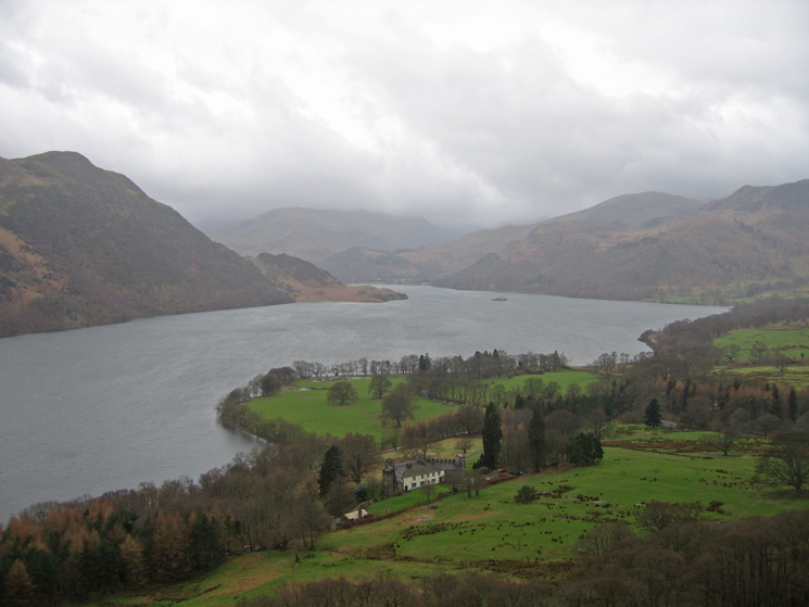 Aira Point, Ullswater from above Lyulph's Tower