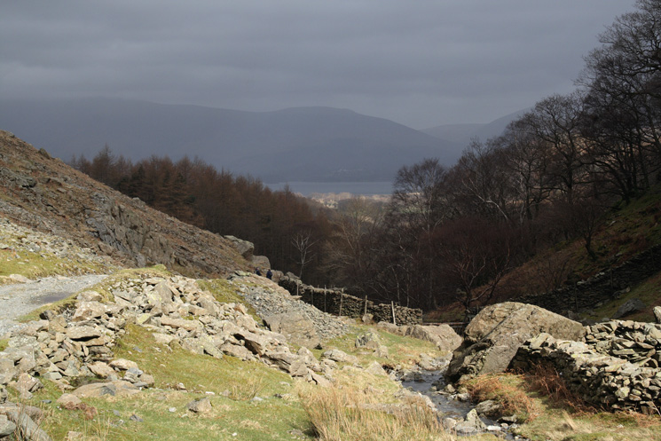 A glimpse of Derwent Water from Broadslack Gill