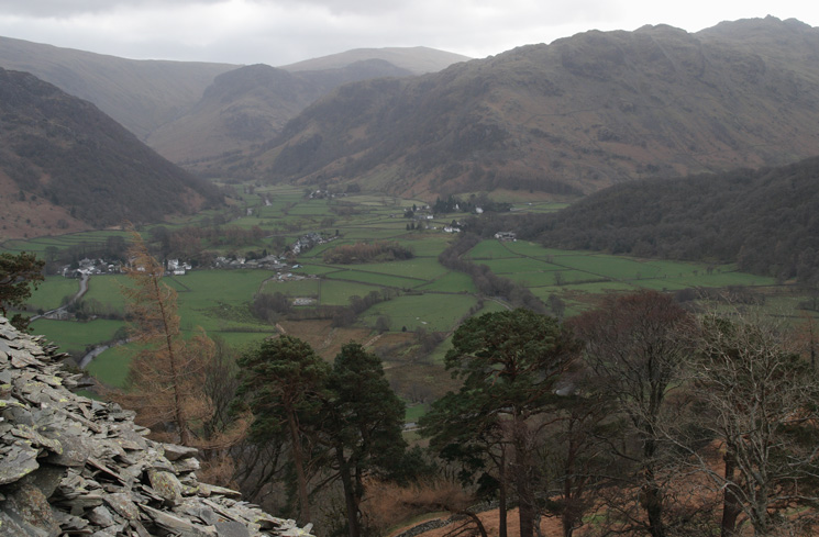 Rosthwaite from the ascent of Castle Crag