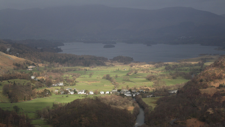 Grange, catching some sun, and Derwent Water from Castle Crag's summit