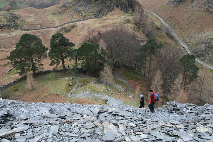 Descending the spoil heap near the top of Castle Crag