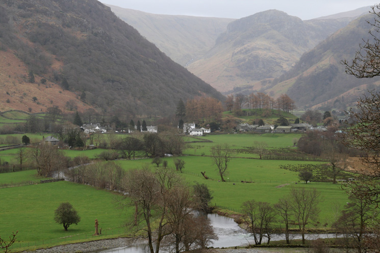 The village of Rosthwaite with Eagle Crag behind