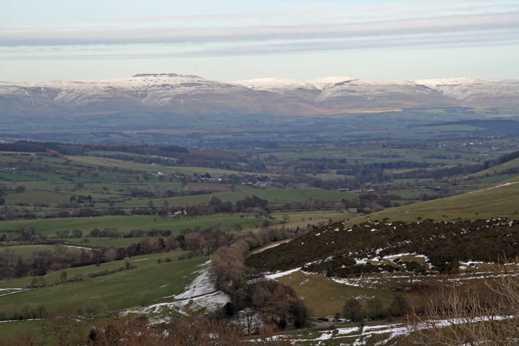 Looking across the Eden Valley to the North Pennines with Cross Fell left of centre