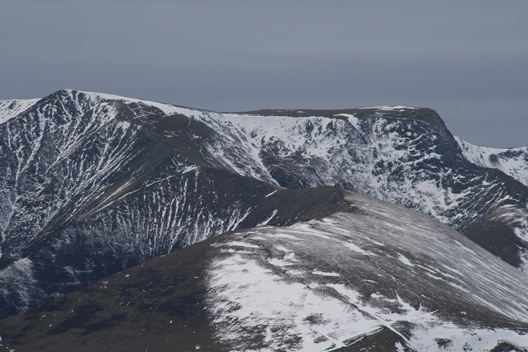 Zooming in on Scales Fell, Blencathra with Hallsfell Top on the left and Sharp Edge on the right