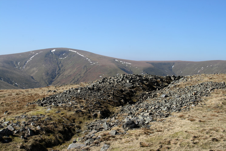 The ditch on Hart Side's summit with Stybarrow Dodd behind