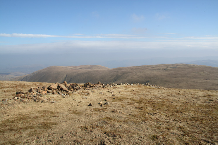 The double top of Hart Side (left) and Green Side / Whites Stones (right) from the wall on Stybarrow Dodd's summit