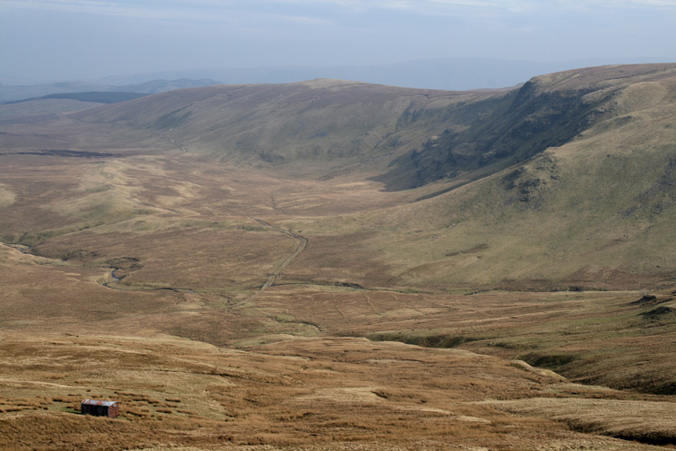Looking down on the Old Coach Road with Wolf Crags on the right from our descent off Clough Head