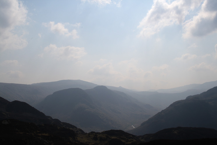 Eagle Crag and Sergeant's Crag with High Raise and Pike O' Stickle behind