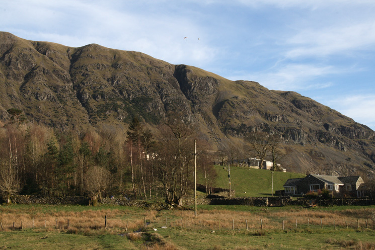 Wanthwaite Crags with Fisher's Wife's Rake right of centre from Wanthwaite