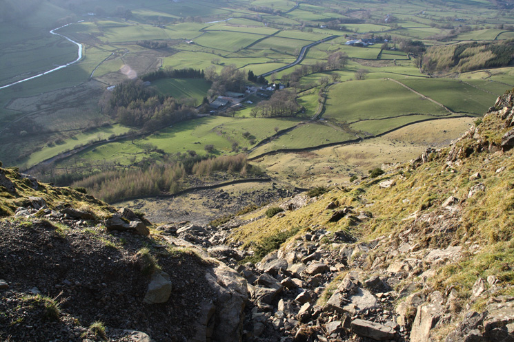 Looking straight down on Lowthwaite Farm