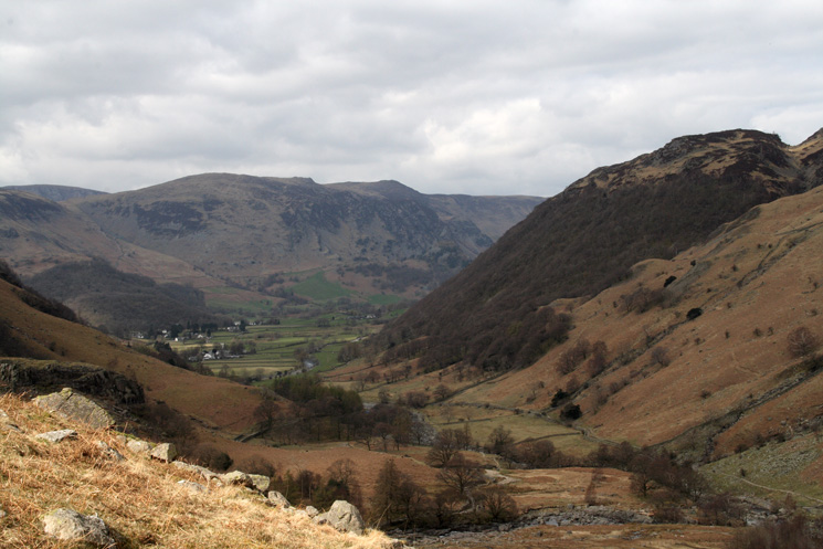 The Stonethwaite valley and High Spy from the ascent of Eagle Crag
